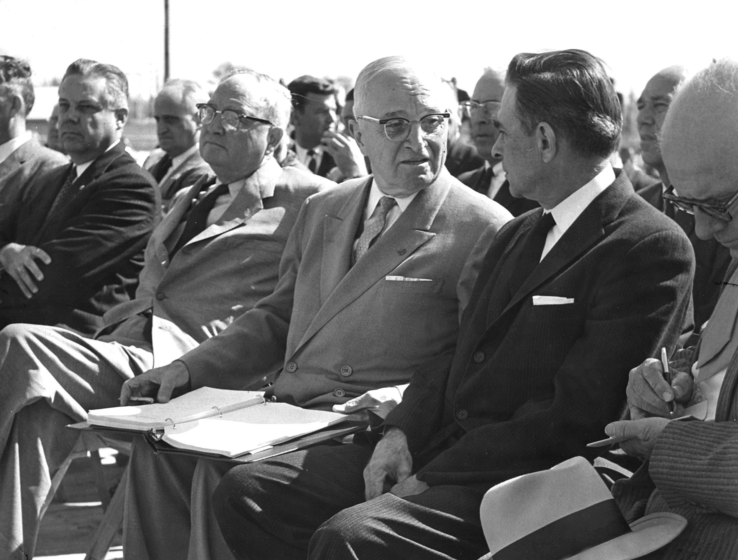 President Harry S. Truman was flanked by Mississippi Democrat loyalists when he spoke in Tupelo on 22 Oct 1960.  Senator James O. Eastland and Representative Thomas G. Abernethy (Right) flanked Mr. Truman.  Tupelo Mayor James L. Ballard is at left.
