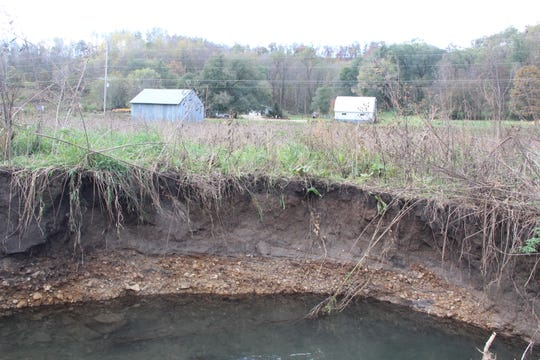This creek bank in Crawford County was eroded by flood waters.