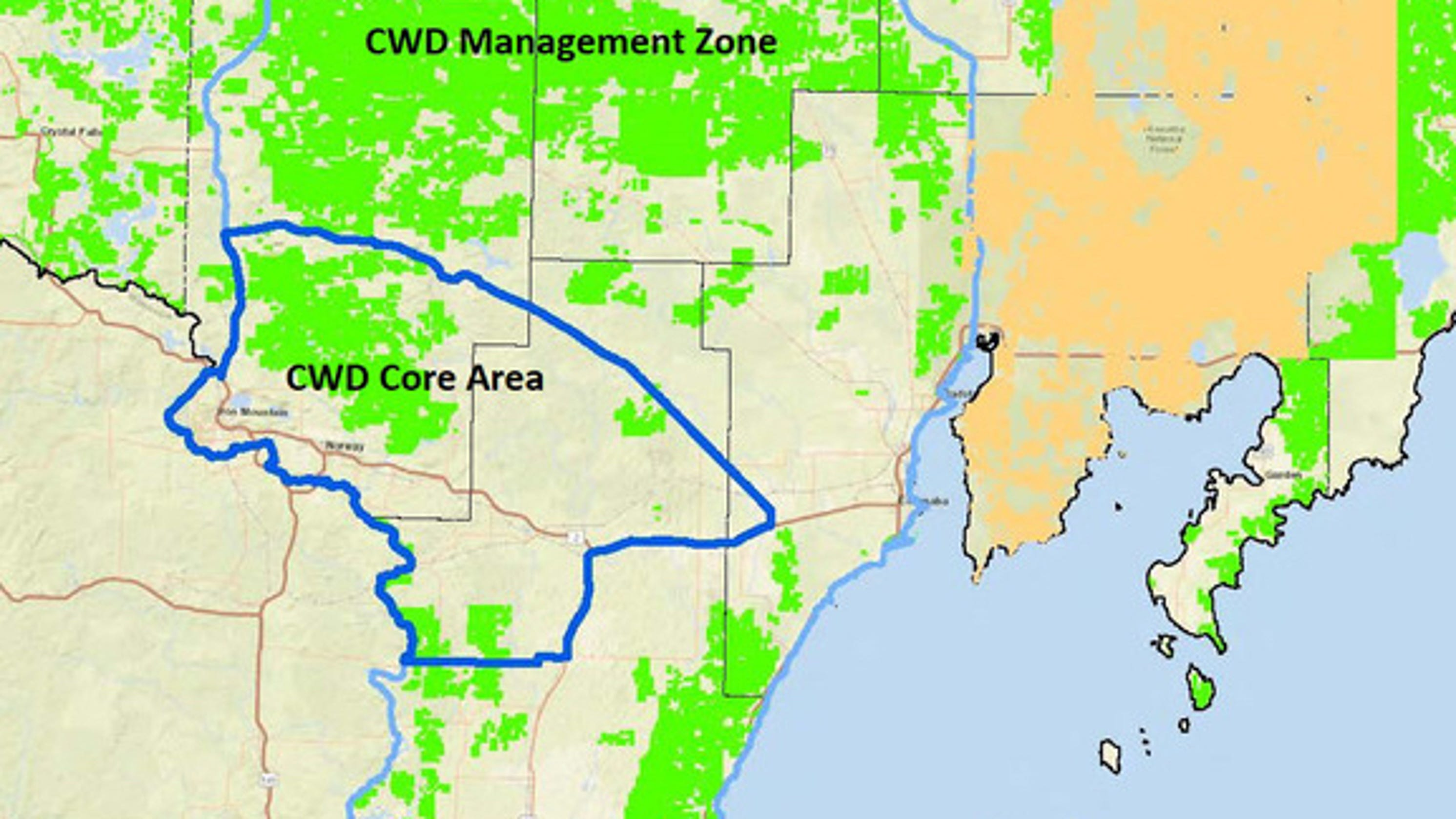 CWD found for first time in Michigan's Upper Peninsula on michigan resources, michigan parcel map, for hunting zones map, michigan hunting maps, michigan world map, michigan zip map, michigan water map, michigan street map, michigan route map, michigan storm map, michigan rifle zones, michigan information, michigan power map, michigan temperature map, michigan section map, michigan network map, michigan district map, michigan color map, michigan regions map, michigan grid map,