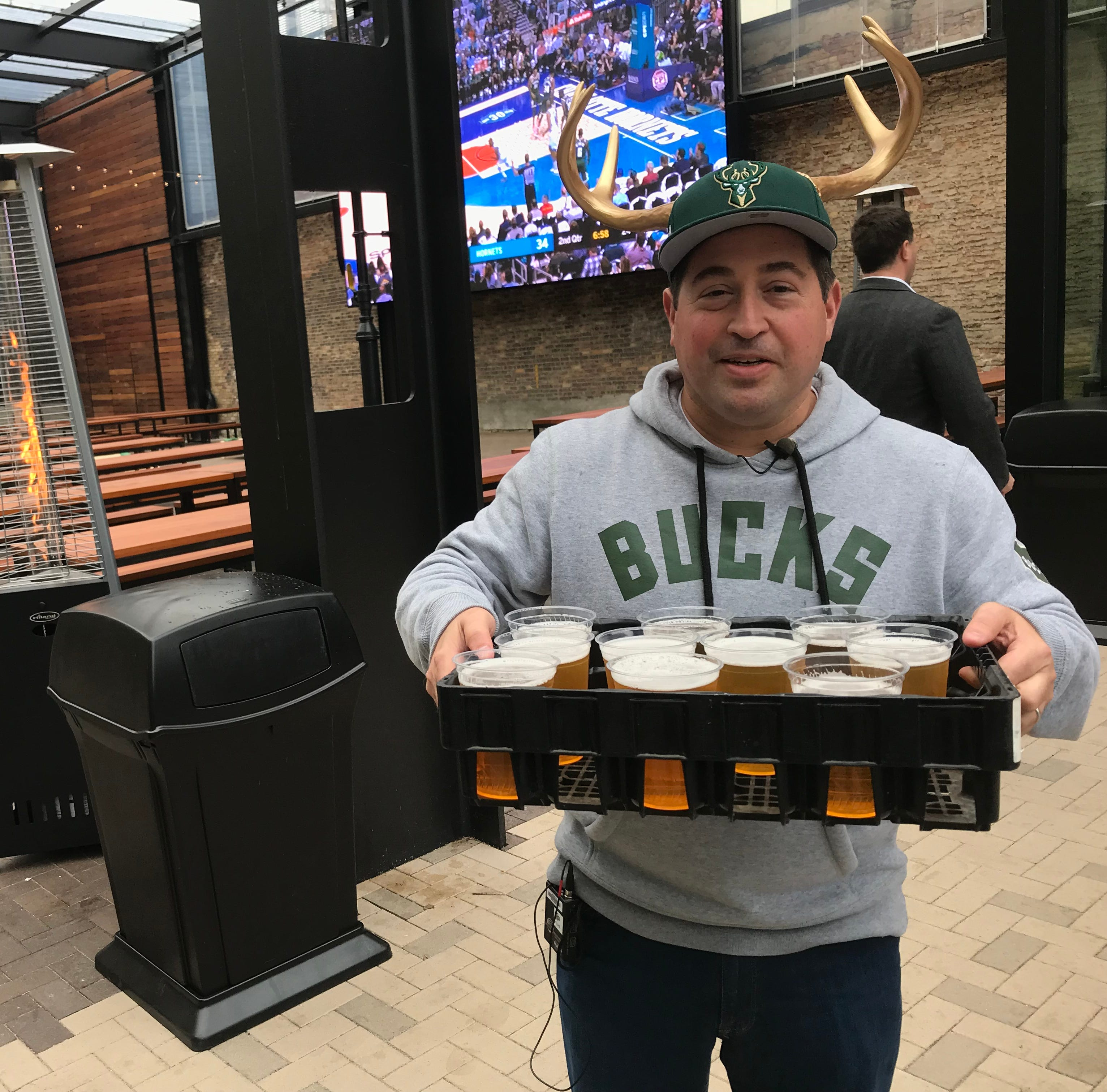 Milwaukee Bucks raise a cold one at grand opening of beer garden outside Fiserv Forum