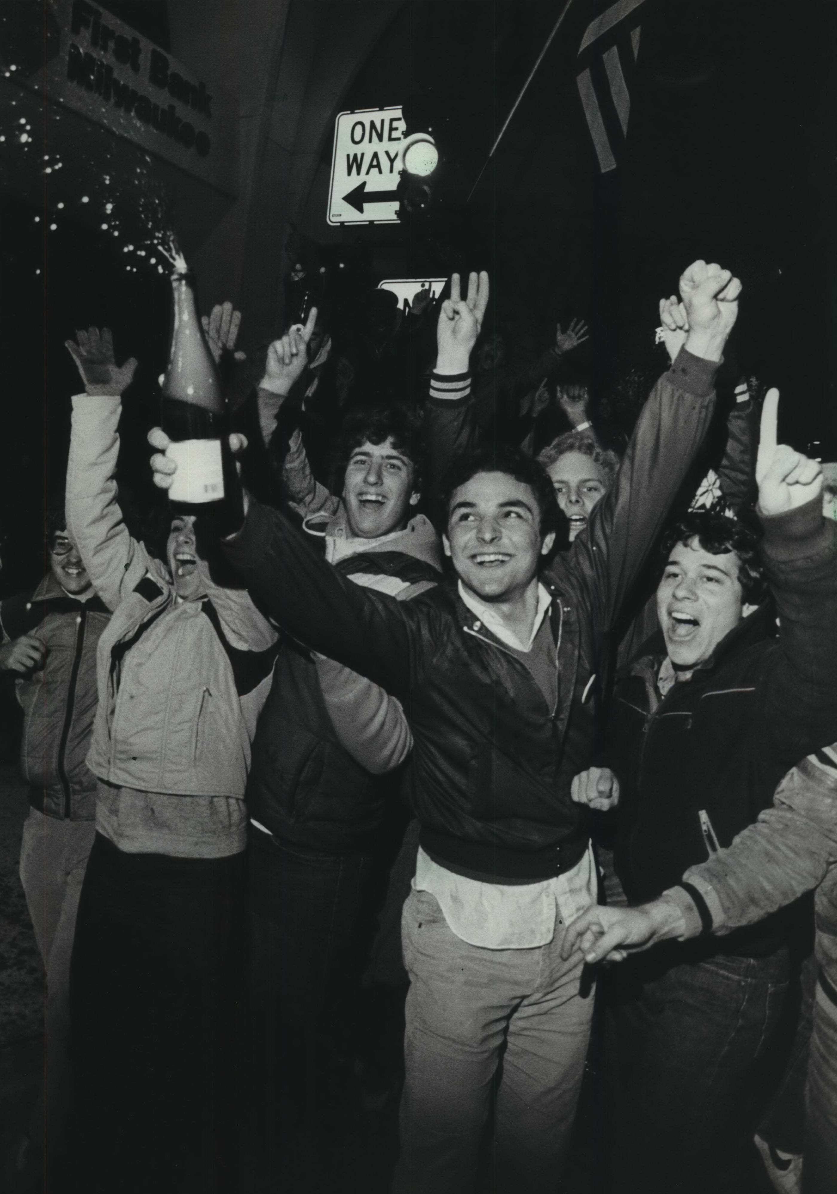 Why waste the champagne? Brewers fans pop the cork on Wisconsin Avenue on Oct. 20, 1982, even though Milwaukee lost Game 7 of the World Series to the St. Louis Cardinals.