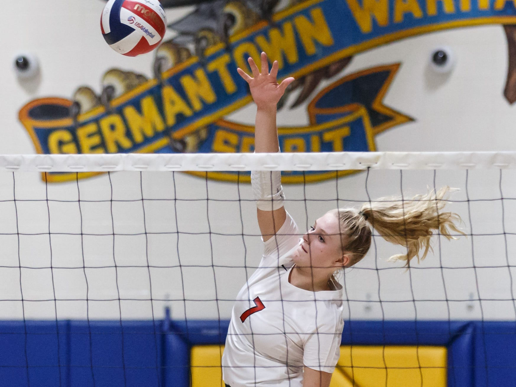 Homestead senior Emma Szypszak (7) elevates for a kill during the WIAA Regional match at Germantown on Thursday, Oct. 18, 2018.