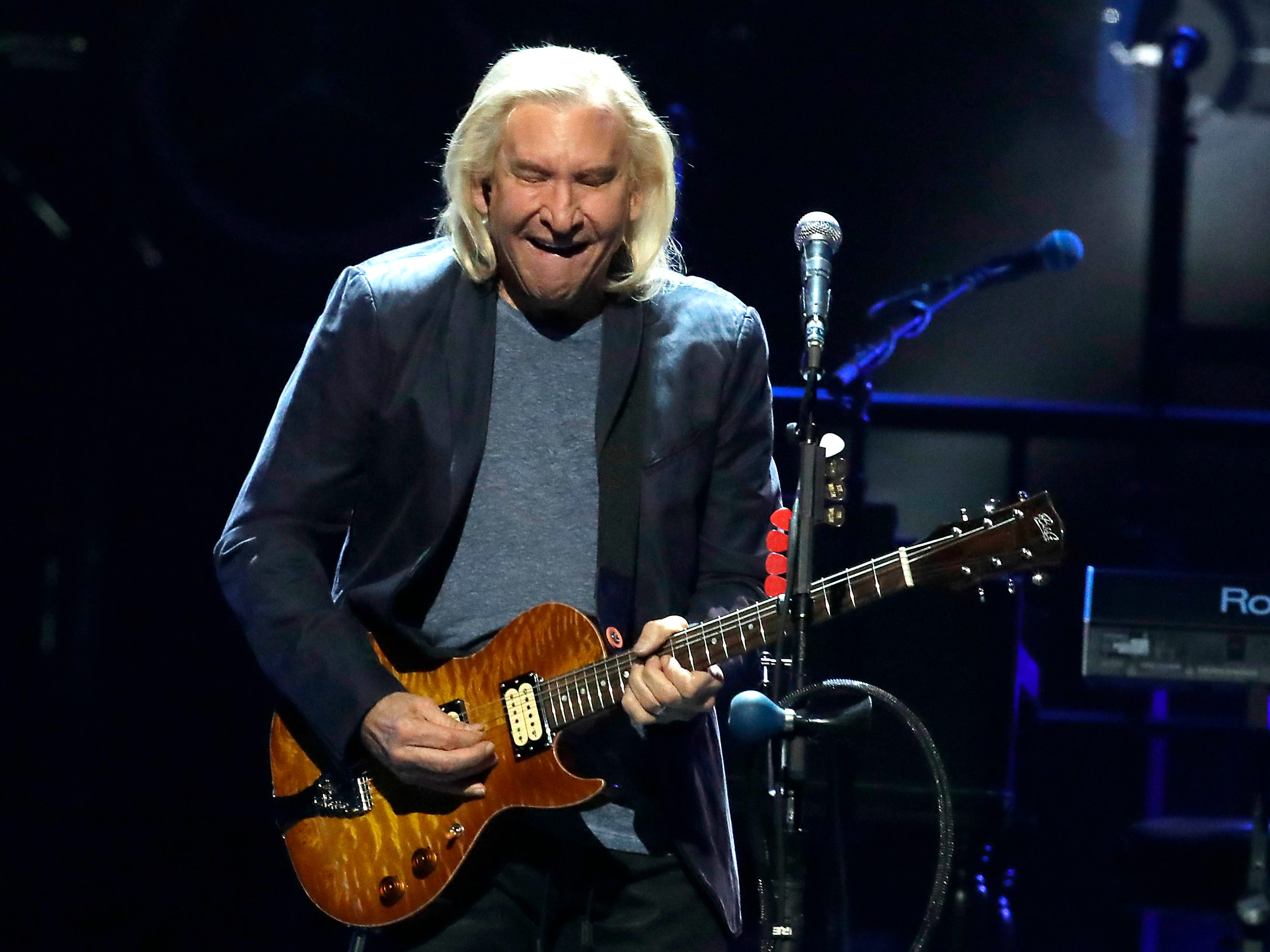 "Joe Walsh plays ""One of these Nights"" during An Evening with the Eagles at Fiserv Forum in Milwaukee on Thursday. RIck Wood,"