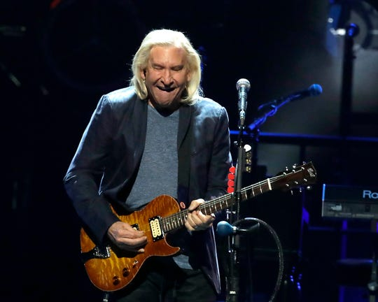 """Joe Walsh plays """"One of these Nights"""" during An Evening with the Eagles at Fiserv Forum in Milwaukee on Thursday. RIck Wood,"""