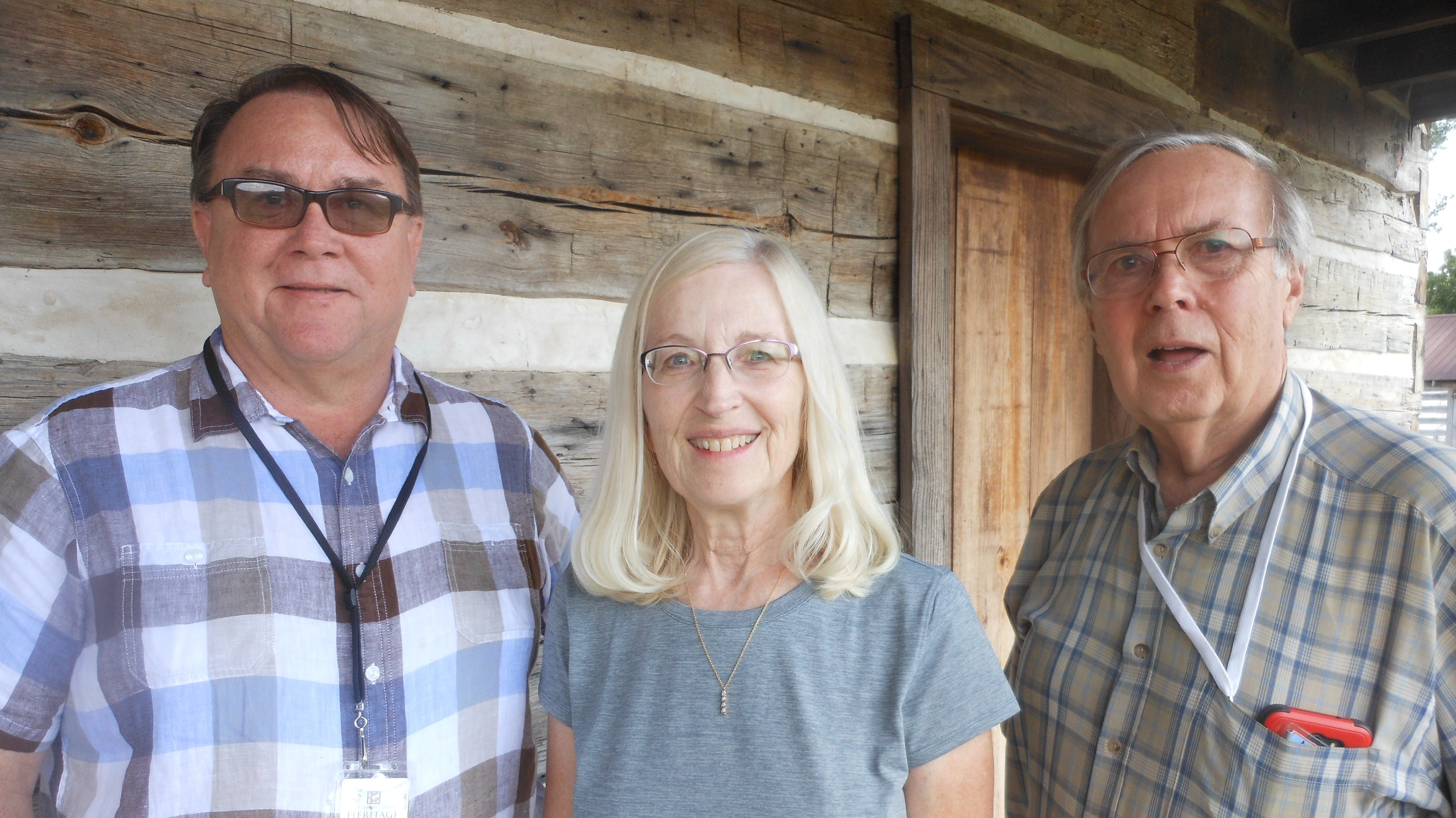 Marlon Mowdy (left), Historic Site Manager at the Jacob Wolf House in Norfork, recently discussed the role of the Wolf House in the formation of the Norfork congregation of Norfork United Methodist Church with Lerene Salisbury, Worship Chairperson at NUMC, and Ray Bachman, Pastor at NUMC.