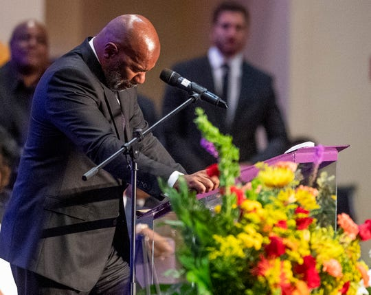 Steve Harvey is overcome with emotion as he speaks during the funeral service for Montgomery businessman and entrepreneur Greg Calhoun that is held at True Divine Baptist Church in Montgomery, Ala., on Friday October 19, 2018.