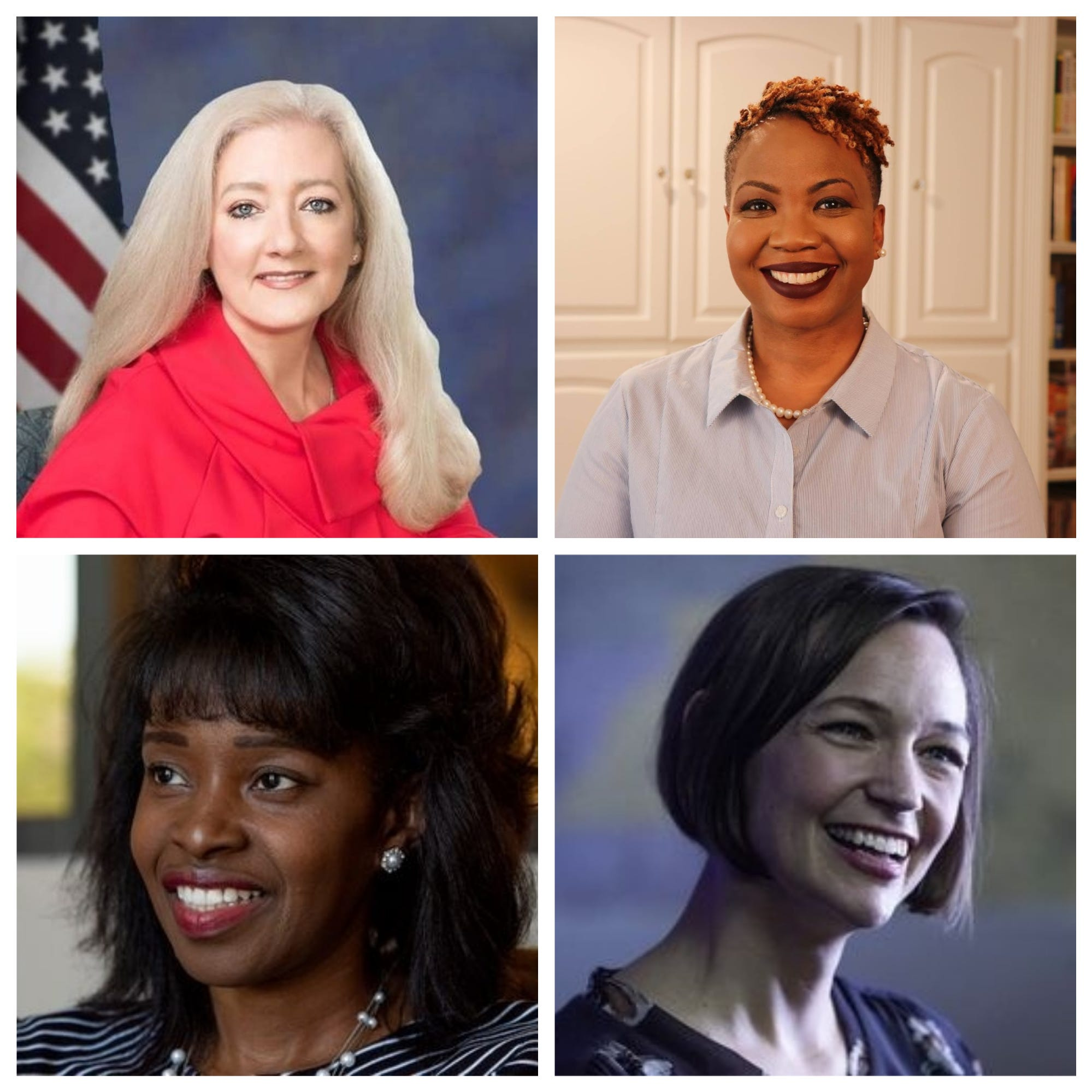 Clockwise from top left: Republican Ginny Shaver, Democrat Veronica Johnson, independent candidate Tijuanna Adetunji, Democrat Tabitha Isner.