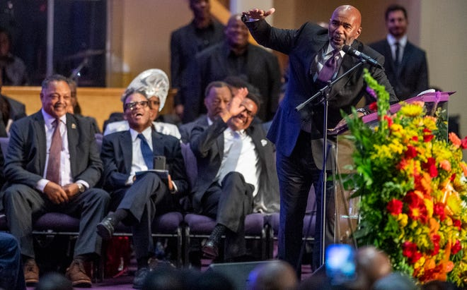 Steve Harvey speaks at the funeral service of his friend Montgomery businessman and entrepreneur Greg Calhoun that is held at True Divine Baptist Church in Montgomery, Ala., on Friday October 19, 2018.