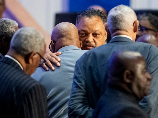 Jesse Jackson attends the funeral service for Montgomery businessman and entrepreneur Greg Calhoun that is held at True Divine Baptist Church in Montgomery, Ala., on Friday October 19, 2018.