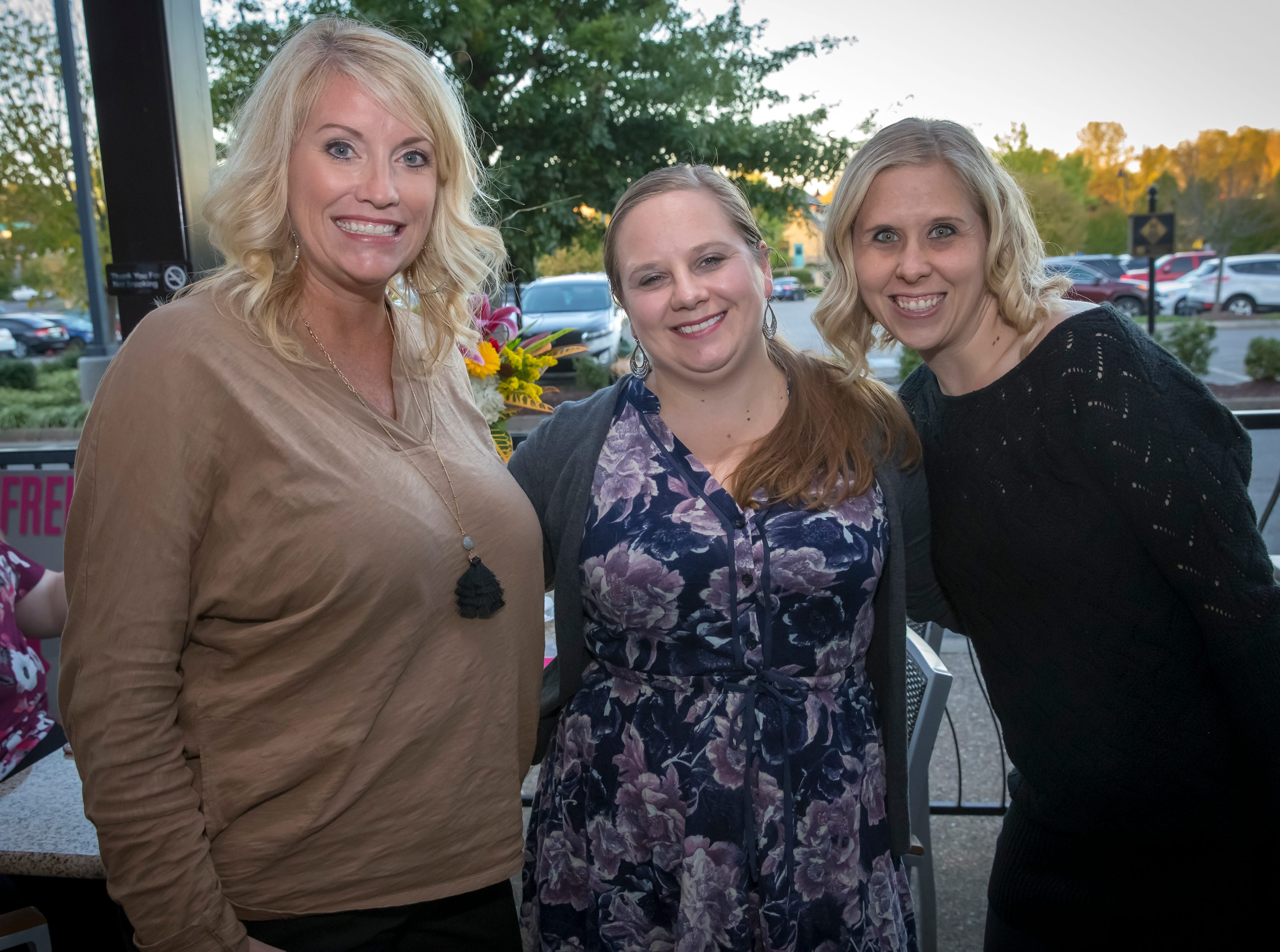 Britton Fraley, Sarah Clark and Shalelyn Smith at the Murfreesboro Magazine Most Beautiful People event held at Bar Louie.