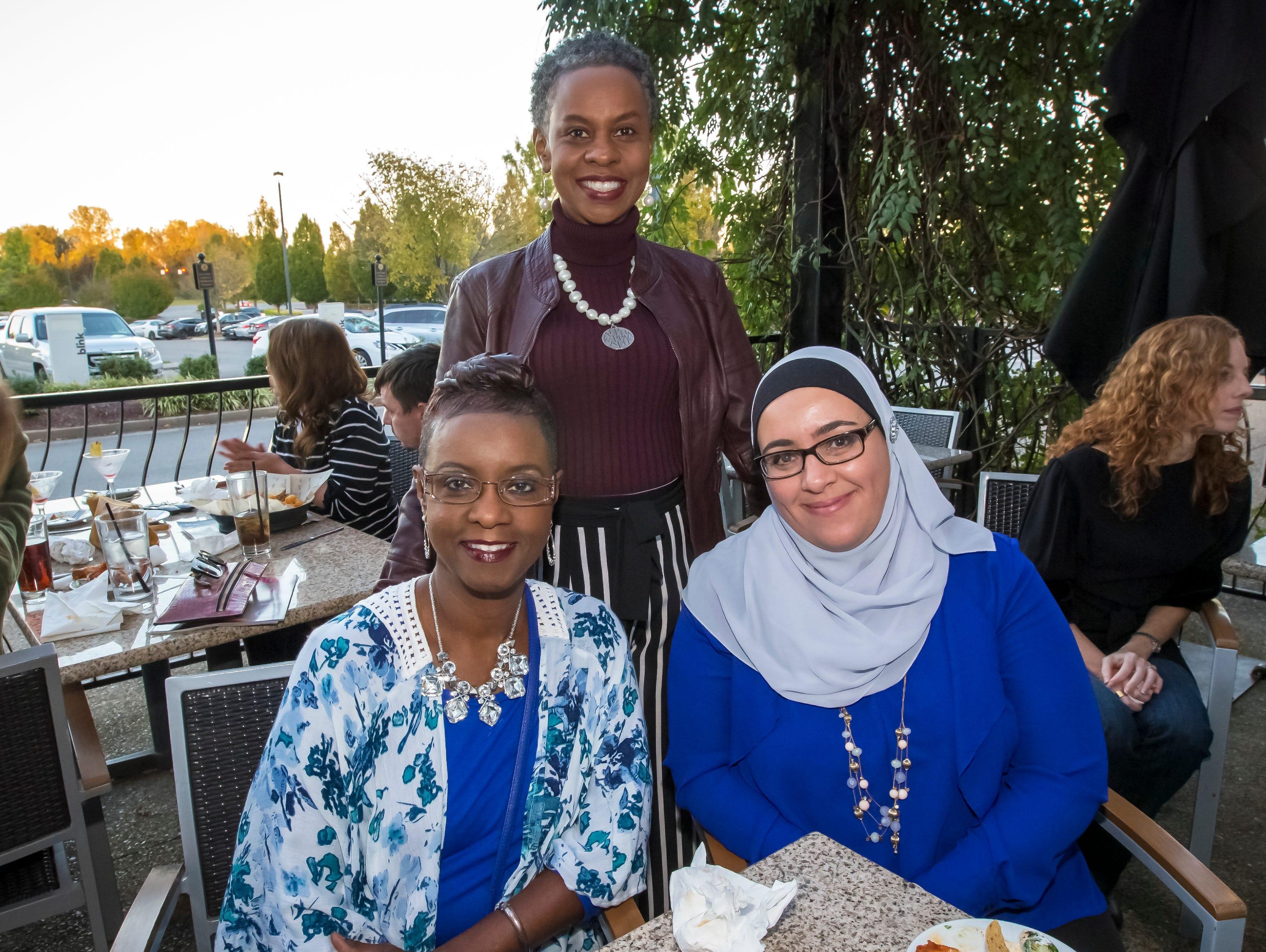 Kezlyn Sellars, Kreda Yokley and Kiba Kattih at the Murfreesboro Magazine Most Beautiful People event held at Bar Louie.