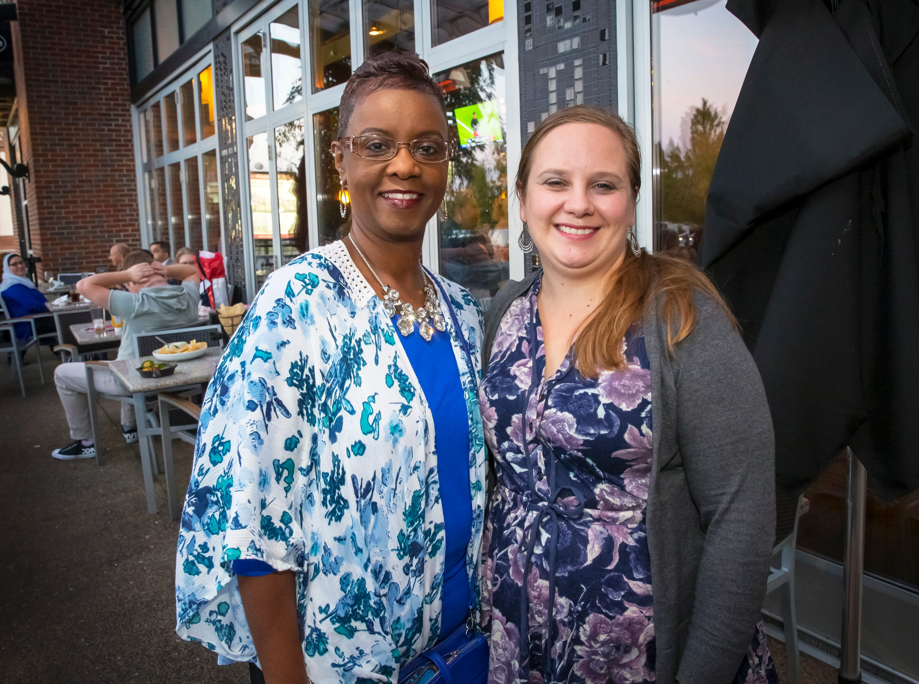 Kezkyn Sellars and Sarah Clark at the Murfreesboro Magazine Most Beautiful People event held at Bar Louie.
