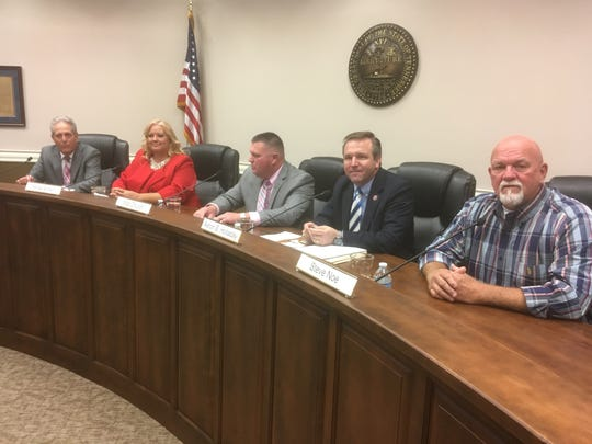 La Vergne aldermen candidates pose Thursday (Oct. 18, 2018) before their League of Women Voters forum at City Hall. From left to right, the candidates are James Anderson, Melisa Brown, Matt Church, Aaron Holladay and Steve Noe. Candidate Joey King was unable to attend. The top two earning at-large votes in the Nov. 6 election will earn a four-year term to the La Vergne Board of Mayor and Aldermen.