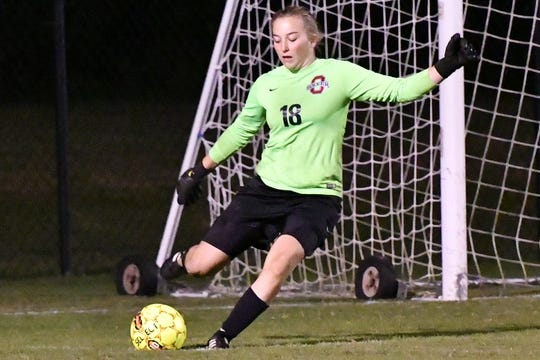 Oakland goalkeeper Sophie Turner sends a ball back toward the midfield during Thursday's Region 4-AAA finals match. Turner kept a clean sheet as the Lady Patriots knocked off Cookeville 1-0 in Saturday's AAA sectional.