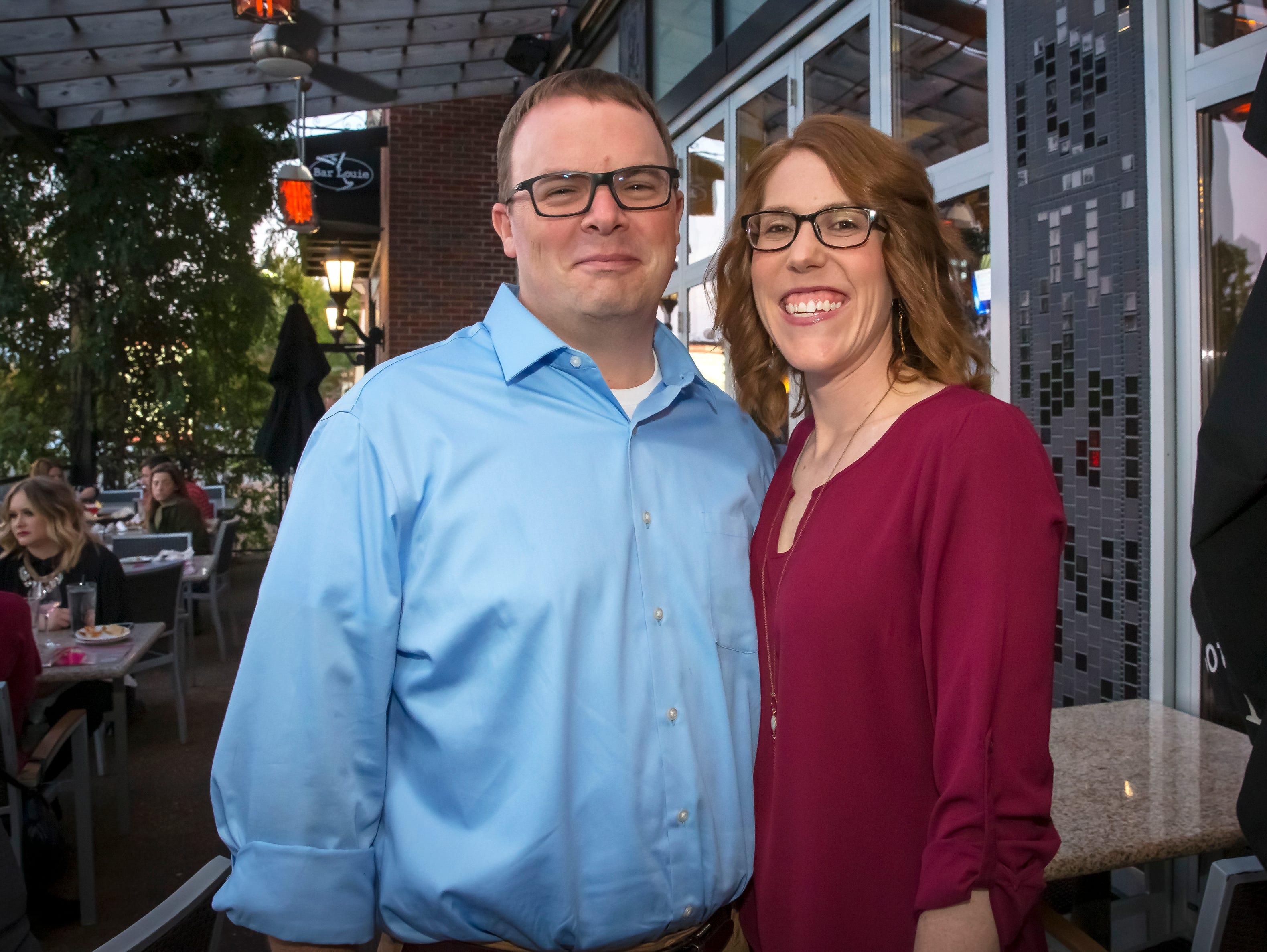 Matt and Kristi Crass at the Murfreesboro Magazine Most Beautiful People event held at Bar Louie.