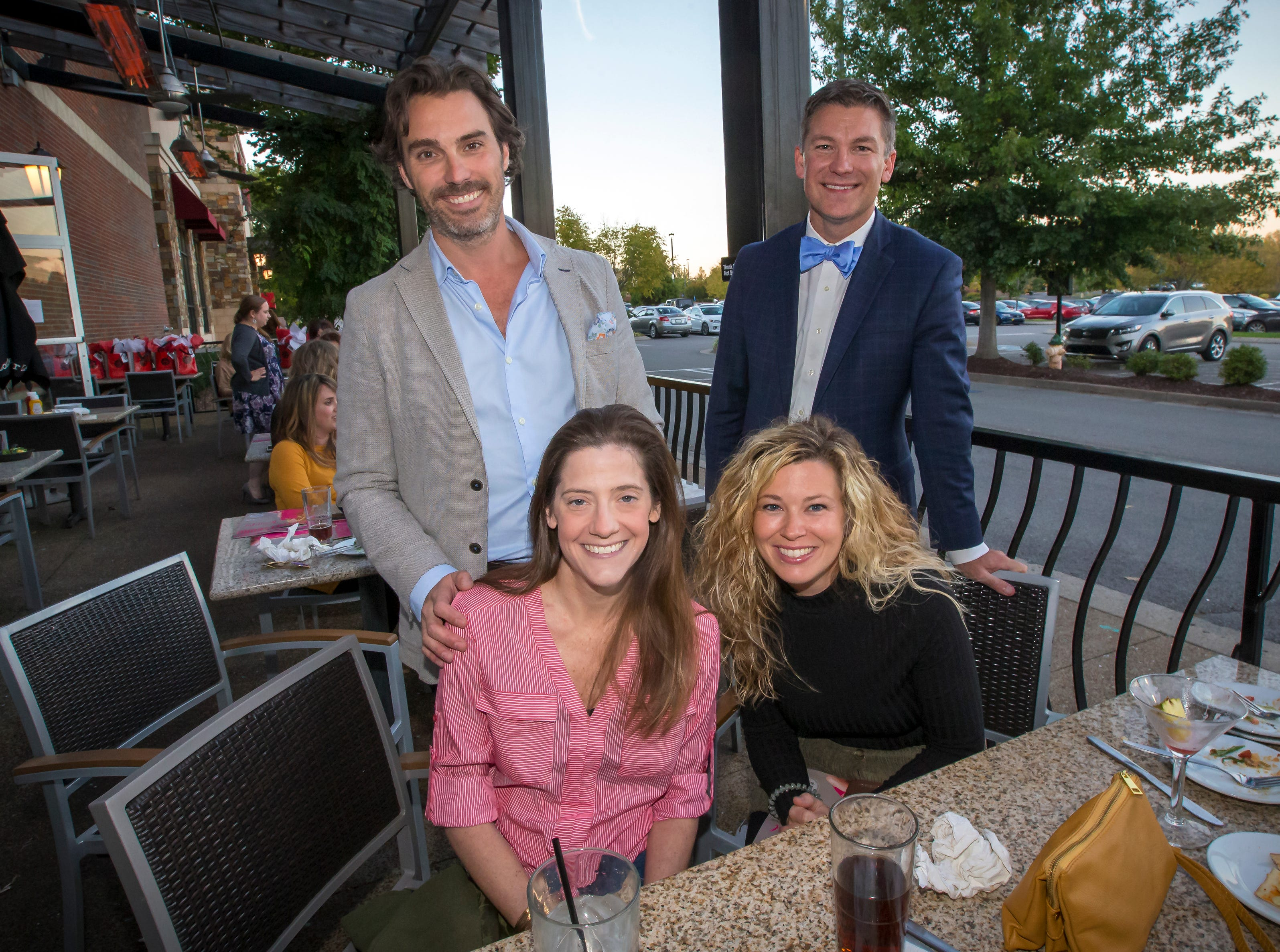 Kristin and Greg Kovach and Chelsea and Gabriel Fancher at the Lara and Kevin Allen at the Murfreesboro Magazine Most Beautiful People event held at Bar Louie.