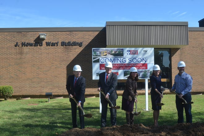 The groundbreaking ceremony for the Warf Math and Science Building renovation included Vol State dean of math and science Tom Eckman, president Jerry Faulkner, vice chancellor for external affairs from the Tennessee Board of Regents Kim McCormick, Gallatin Mayor Paige Brown and Vol State Foundation Board member Andrew Finney.