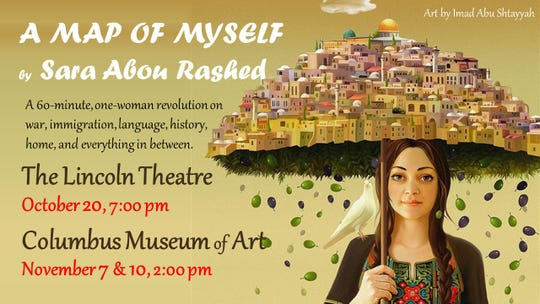 "A promotion card for ""A Map of Myself"" a solo poetry performance by Sara Abou  Rashed"