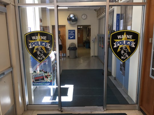 The entrance to Wayne police headquarters at the municipal building on Valley Road.