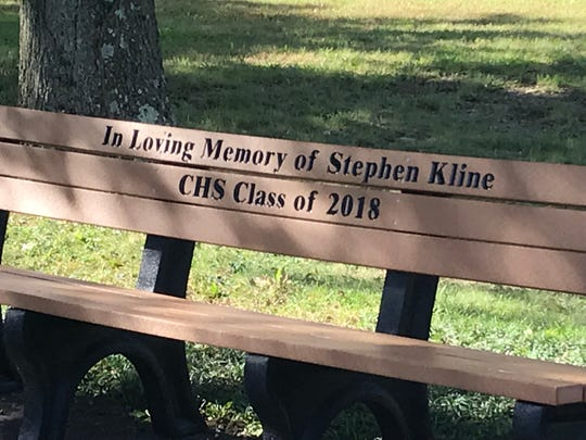 This memorial bench located in the courtyard of Cresskill High School was dedicated on Oct. 19 to Stephen Kline, a teacher at the school who passed away in July.