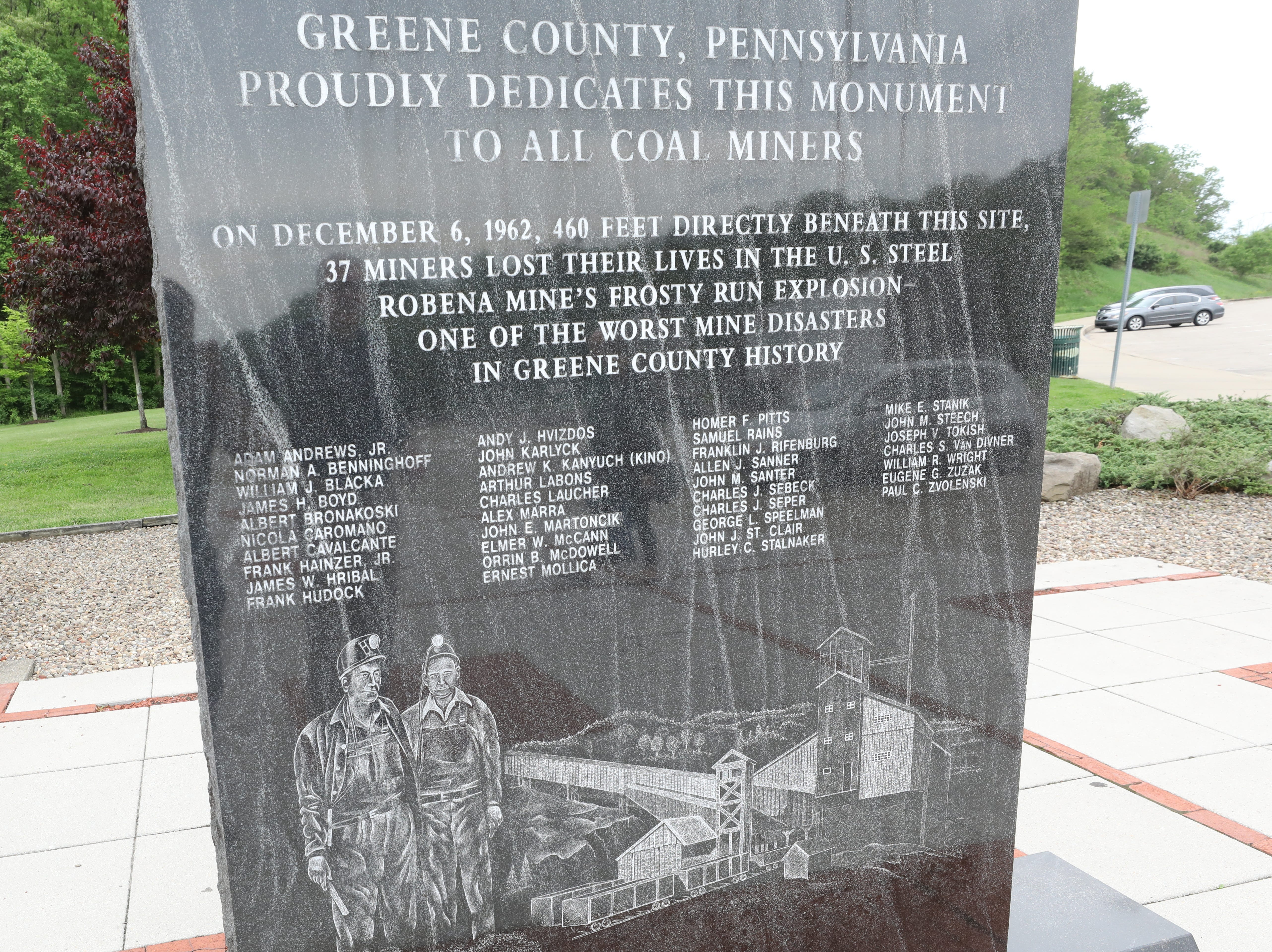 A monument dedicated to coal miners who were killed in a coal mine disaster in 1962 can be seen on the highway toward Waynesburg.