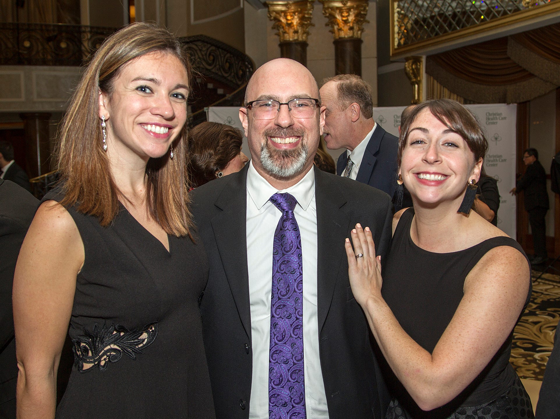 Kathleen Whitehouse, Aaron Pell, Michelle Caks. Christian Health Care Center held its ' A Celebration of Excellence' gala at the Venetian in Garfield.  10/17/2018