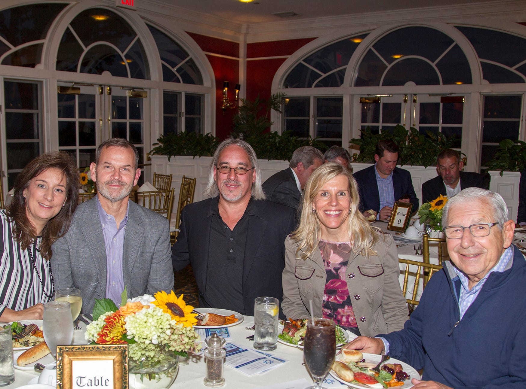 Lanie Duffy, Todd Duffy, Mike Implicito, Arleen Implicito, Dr. George Leinpsner. Seventh annual AIR Express Golf Outing honoring Dr. Dante Implicito, M.D. for his service to Hackensack University Medical Center. 10/16/2018