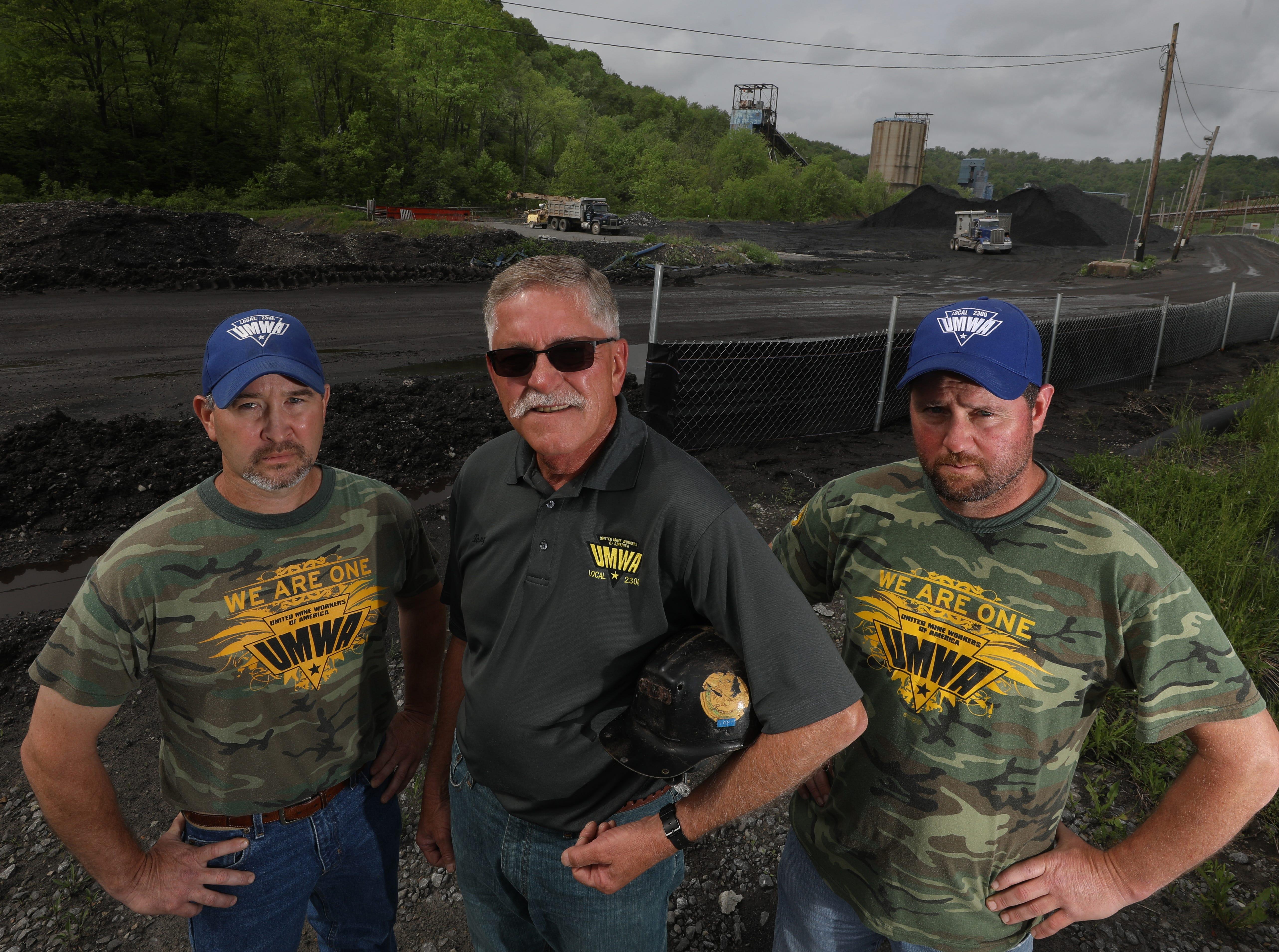 From left, Chad Wendell, Tony Brnusak and Jim Burk outside the Cumberland Mine south of Waynesburg, Pennsylvania.