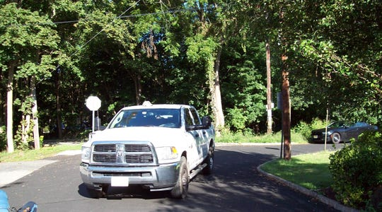 A photo from the Sept. 9, 2017 pedestrian-vehicle accident on Eastside Avenue in Wanaque, during which 71-year-old William Vogt's hat ended up on the top of the truck's cab.