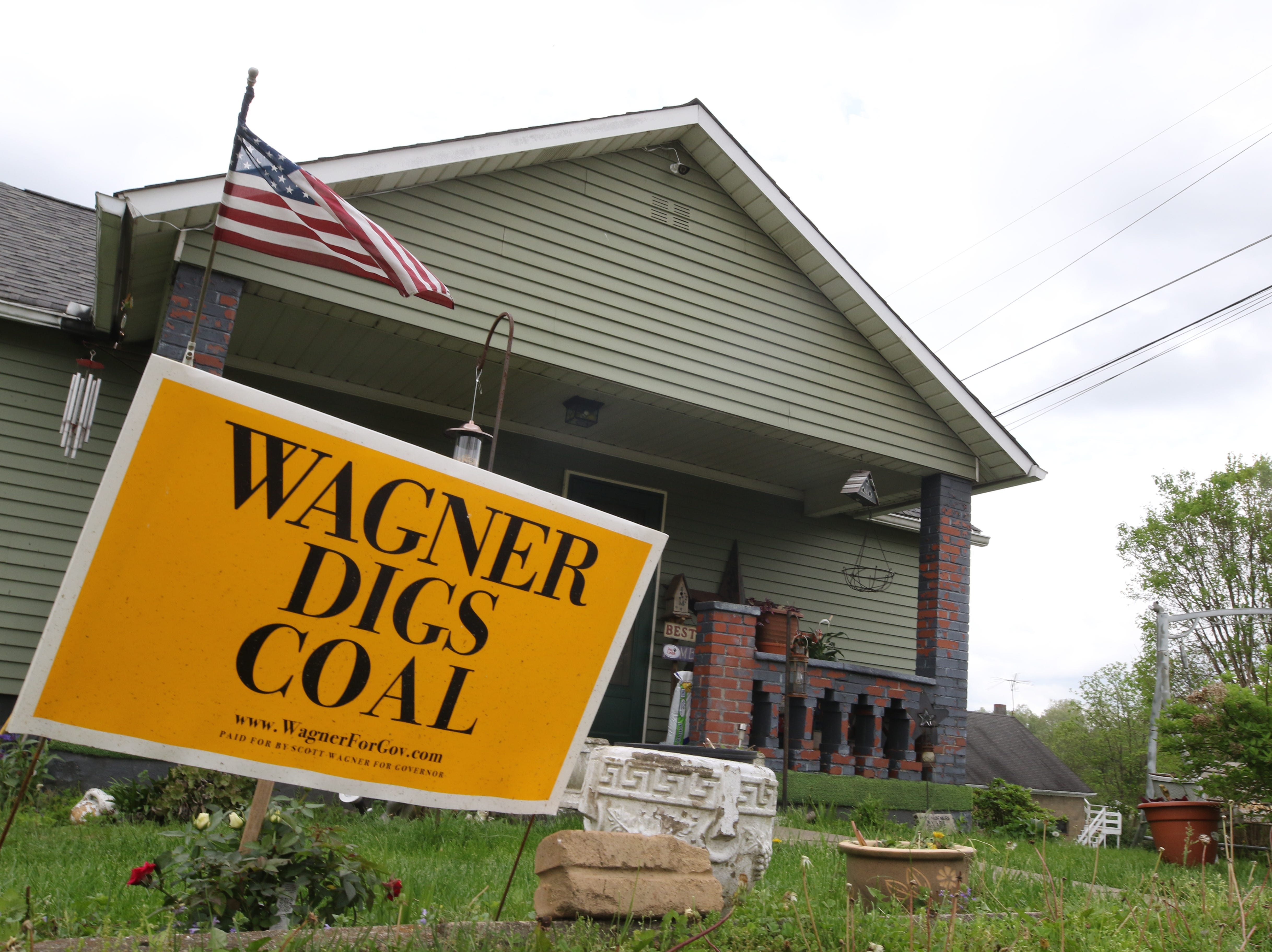 A sign in front of a home in Marianna showing support for Scott Wagner, the Republican nominee for governor.