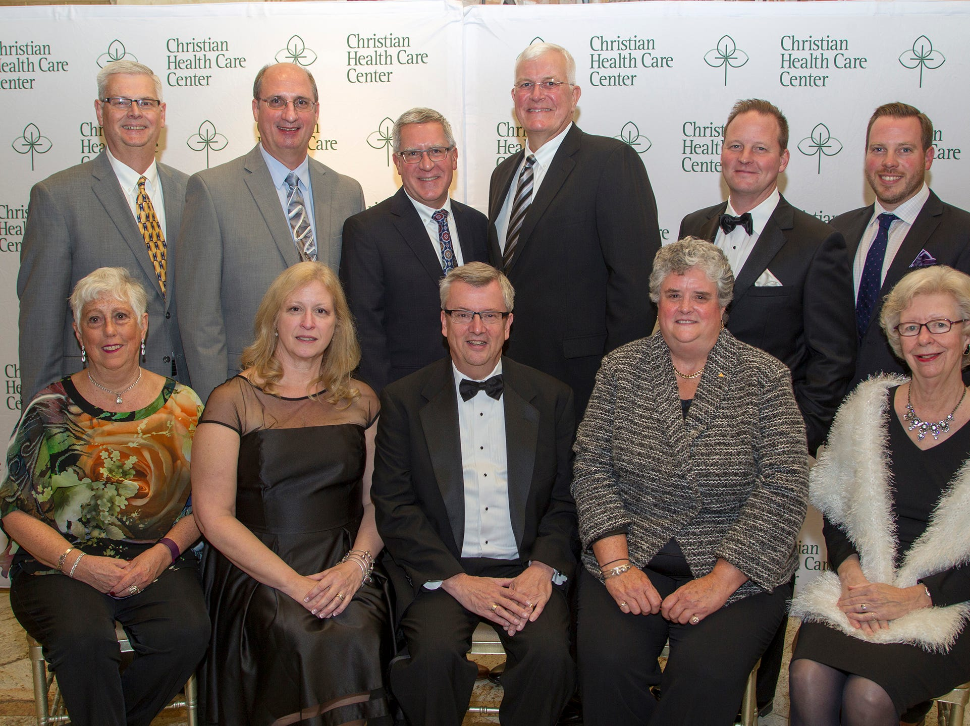 Seated from left, are Cynthia Bach, Beth Spoelstra, MSN, RNC-OB, Douglas A. Struyk, CPA, LNHA, CHCC President and CEO,  Julie Holland, Sandra DeYoung, RN, EdD. Standing from left, David Visbeen, Rev. Rod Gorter, Rick DeBel, CHCC Board of Trustees Chair, Thomas Dykhouse, Mark Reitsma, Matthew Kuiken. Christian Health Care Center held its ' A Celebration of Excellence' gala at the Venetian in Garfield.  10/17/2018