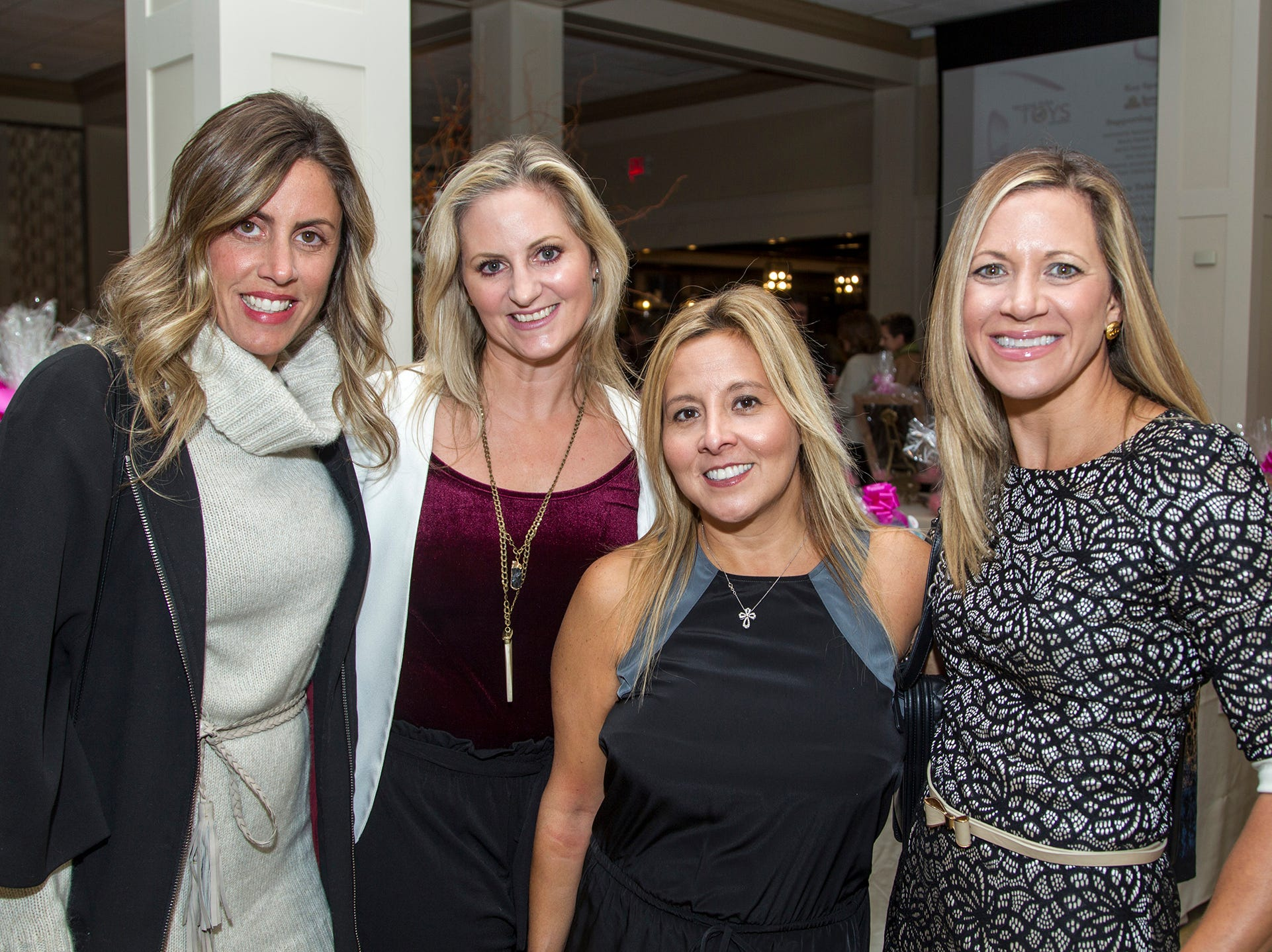 Marey Benner, Elissa Silverman, Sally Mc Quade, Kristine McKee. Spring Lake Toys Foundation held its 3rd annual fundraising gala luncheon at Indian Trail Club in Franklin Lakes. The luncheon fundraiser raises funds for children with illnesses. 10/18/2018