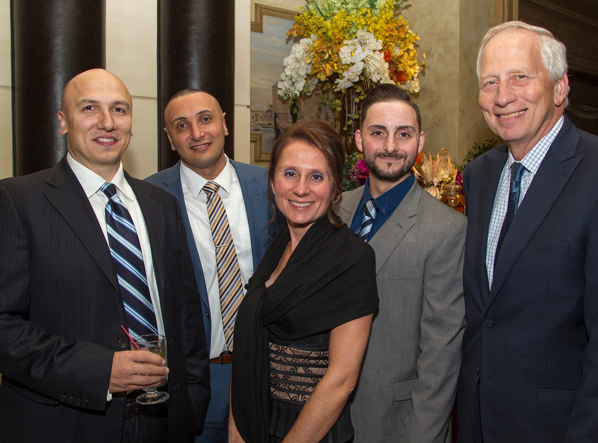 Sal Xheraj, Ed Rizgallah, CHCC Chief Information Office,  Sue Figalora, Chris Rigopoulos, and John Browne FACHE, LNHA, CPHRM, CHCC Vice President, Residential Services. Christian Health Care Center held its ' A Celebration of Excellence' gala at the Venetian in Garfield.  10/17/2018