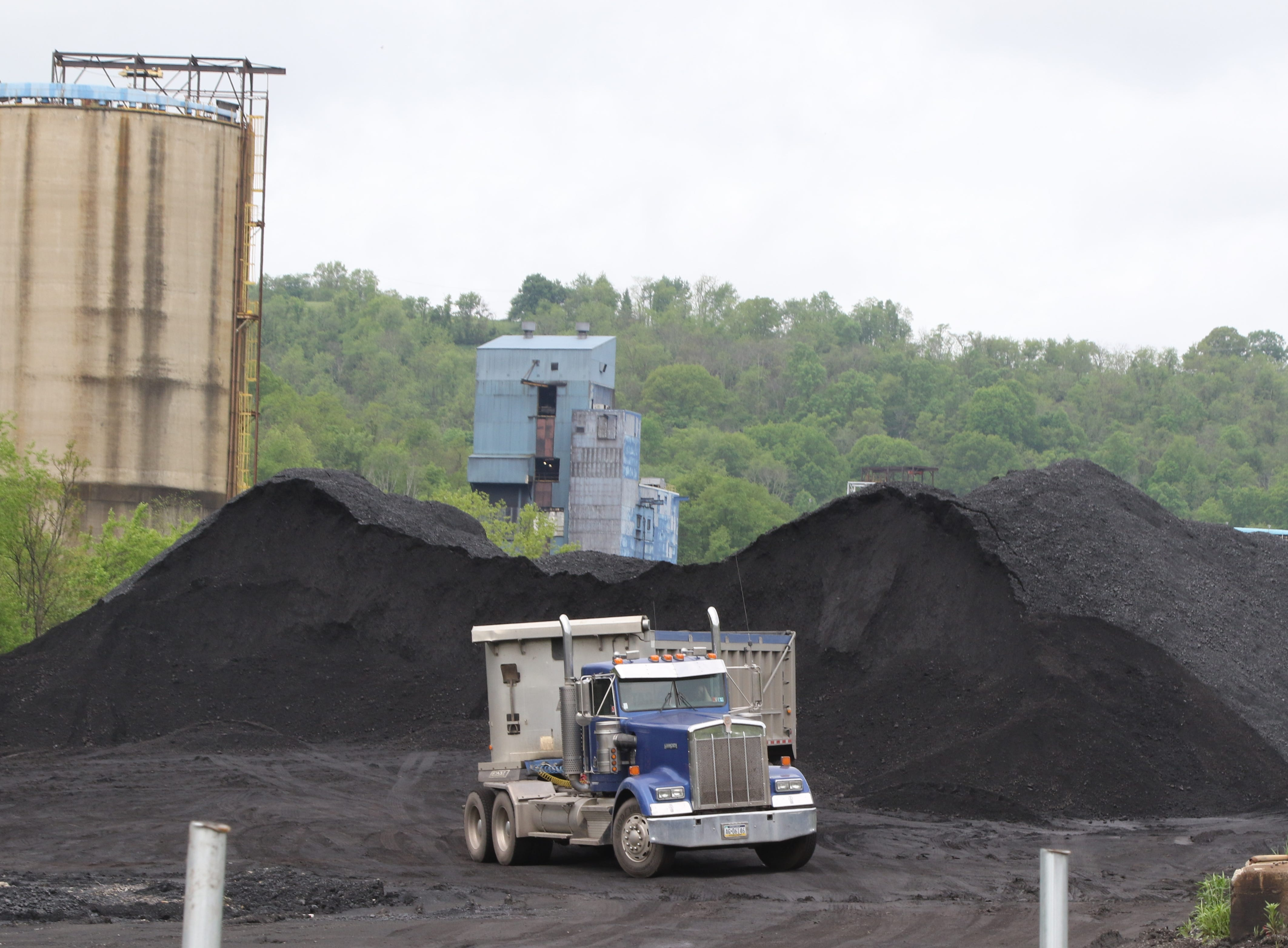 A pile of processed coal at the Cumberland Coal Mine, where trucks come to take it away.