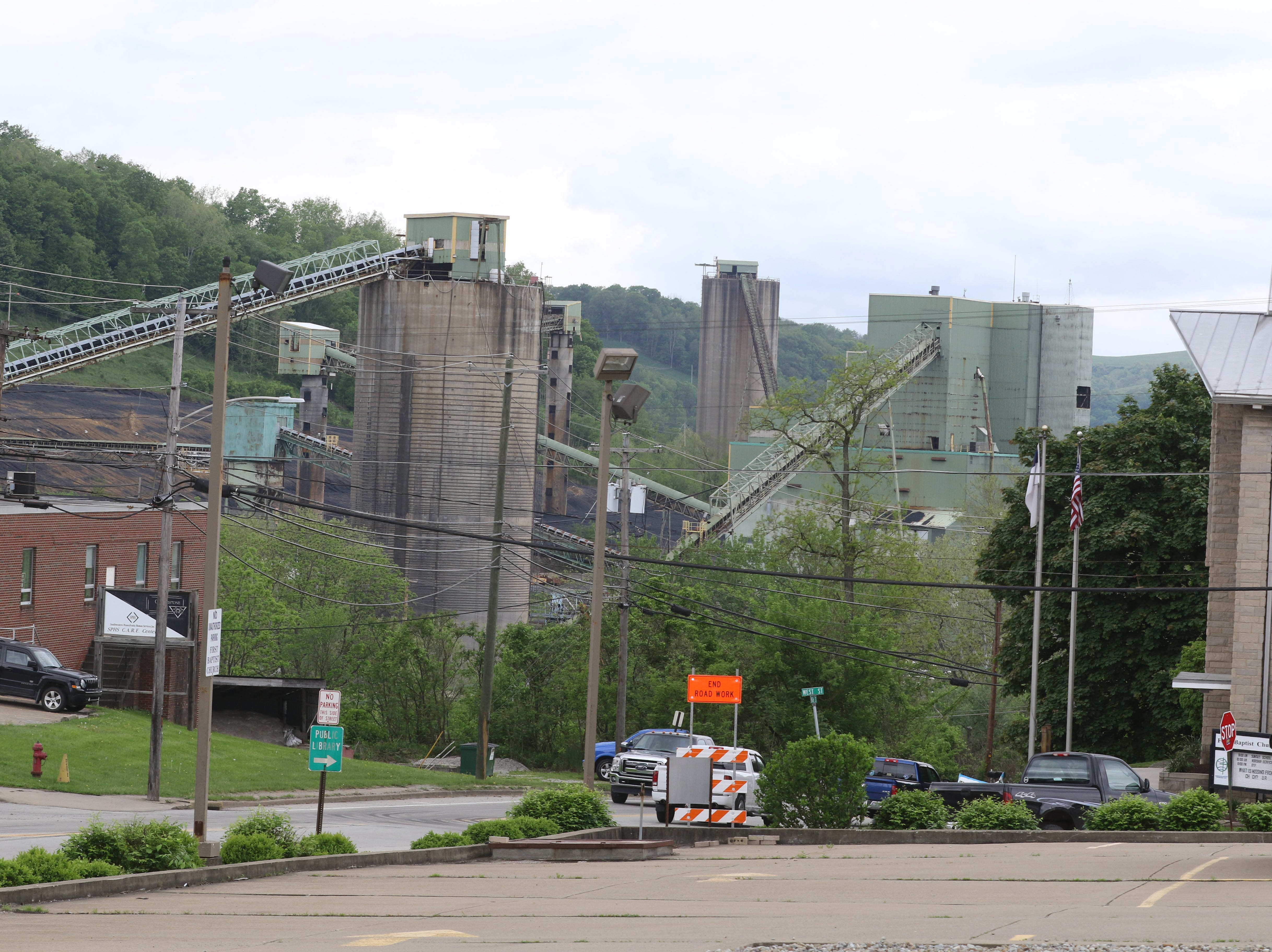 The silos and infrastructure of the Emerald Coal Mine in Waynesburg that closed two years ago, as seen from downtown.