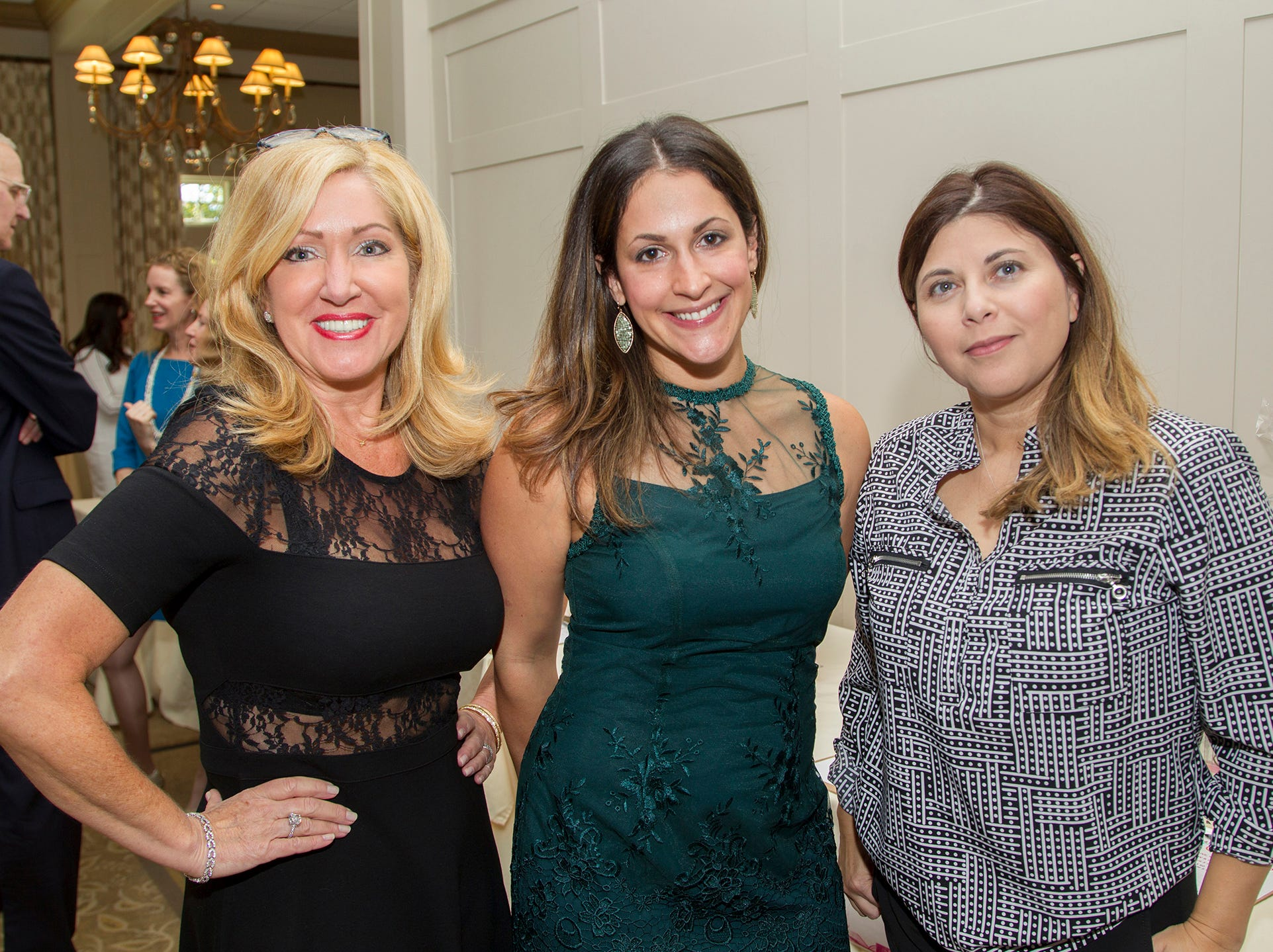 Debbie Crispano, Nicole Landskowsky, Alexandria Bond. Spring Lake Toys Foundation held its 3rd annual fundraising gala luncheon at Indian Trail Club in Franklin Lakes. The luncheon fundraiser raises funds for children with illnesses. 10/18/2018