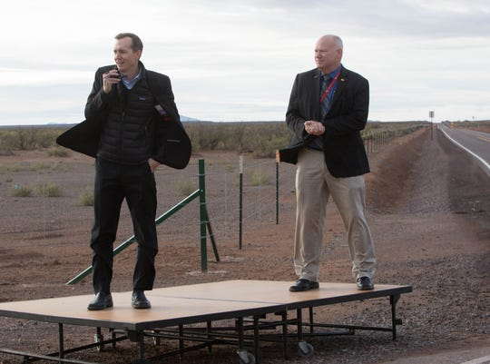 From left, George Whitesides, CEO of Virgin Galactic and Dan Hicks, CEO of Spaceport America, at the opening of the southern road connecting Interstate 25 to Spaceport America in 2018.
