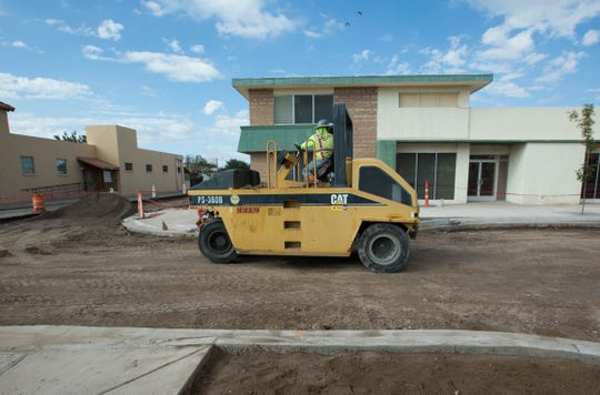 Road construction continues on Las Cruces Avenue, Friday October 19, 2018.