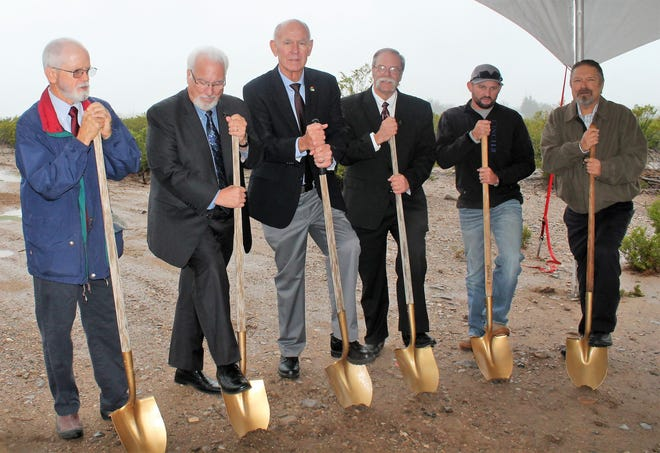 Alamogordo Seventh-day Adventist Church celebrated a groundbreaking for it's school Canyon Christian Academy Thursday. The school is expected to open in August. From left, Jesse Cone, Seventh-day Adventist Texico Conference Executive Secretary/Treasurer Phil Robertson, Alamogordo Mayor Richard Boss, Senth-day Adventist Texico Conference Education Superintendent Derral Reeve, Alamogordo City Commissioner Dusty Wright and Alamogordo Seventh-day Adventist Pastor Chuck Workman.