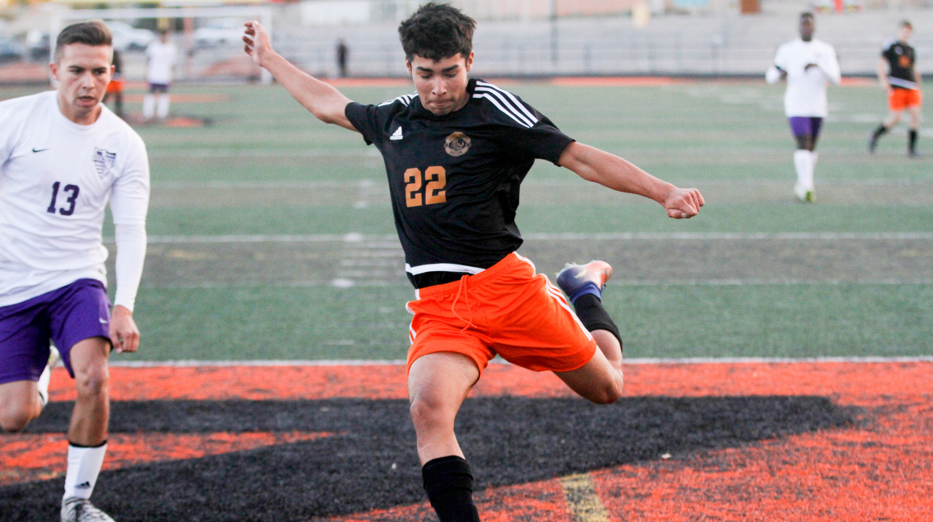 Aztec's Angelo Lucero scores the first goal against Miyamura, Thursday, Oct. 18, 2018 at Fred Cook Memorial Stadium in Aztec.