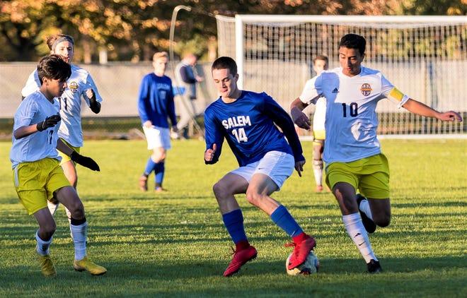 Salem forward Thomas Dono (14) earned All-Kensington Lakes Activities Association boys soccer honors.