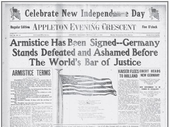 Appleton Evening Crescent from Nov. 11, 1918.
