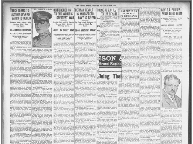 The Grand Rapids Tribune from Nov. 11, 1918.