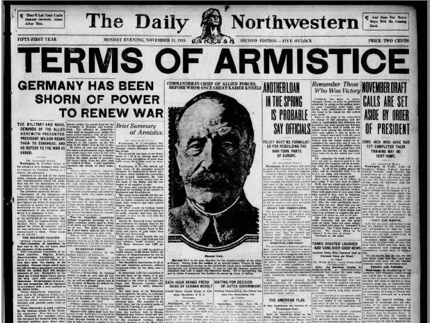 The Oshkosh Daily Northwestern from Nov. 11, 1918.