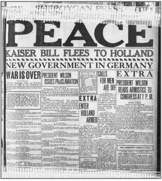 Sheboygan Press from Nov. 11, 1918.