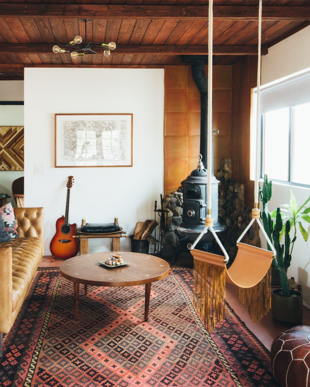 The living room at Sara and Rich Combs' Joshua Tree Casita