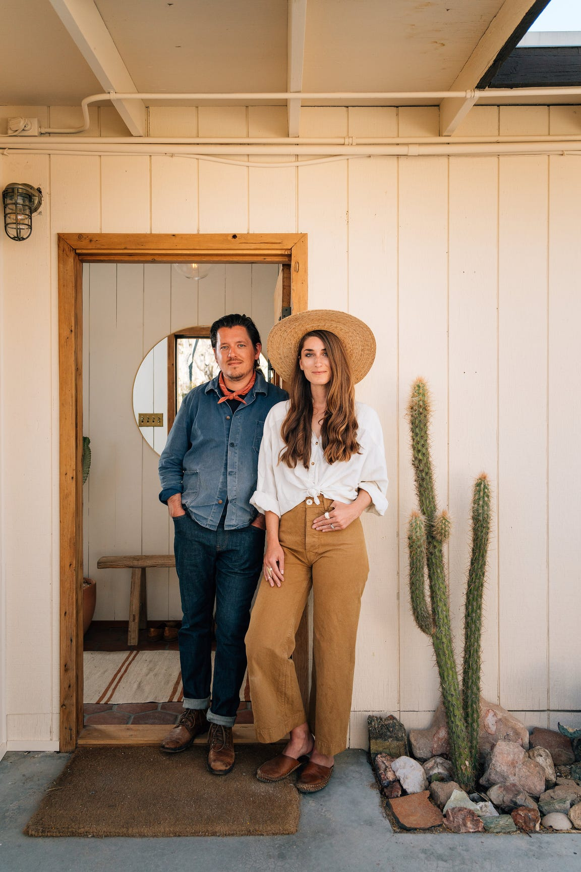 Rich (left) and Sara Combs at their Joshua Tree Hacienda