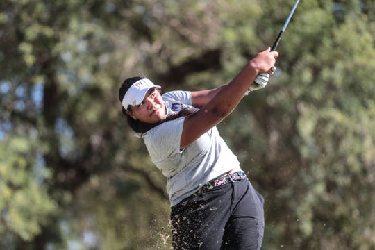 Rancho Mirage's Lehapi Taungahihifo tees off on 8 at the Westin Mission Hills Pete Dye Course on Thursday, October 18, 2018 during the Desert Empire League Individual finals in Rancho Mirage.