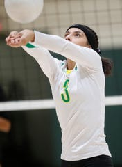 Coachella Valley High School's Valeria Astorga plays against San Jacinto Valley Academy during their CIF playoff game in Thermal, California. Coachella won the game.