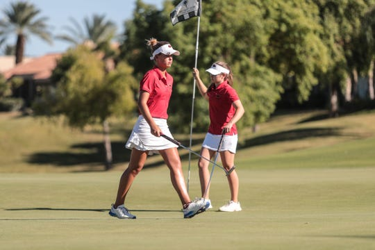 Palm Desert High's top players Avalon Woodward, left, and Caroline Wales on 9 at the Westin Mission Hills Pete Dye Course on Thursday, October 18, 2018 during the Desert Empire League Individual finals in Rancho Mirage.